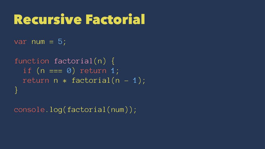 Recursive Factorial var num = 5; function facto...