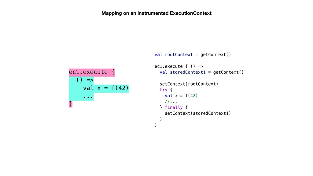 Mapping on an instrumented ExecutionContext val...