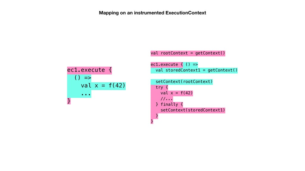 Mapping on an instrumented ExecutionContext ec1...