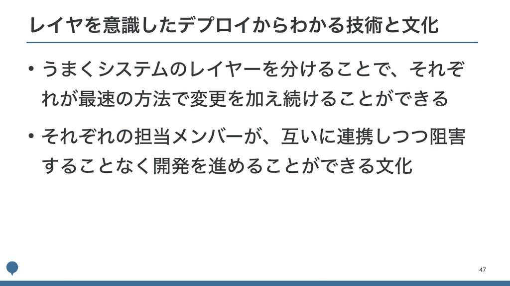 !47 • ͏·͘γεςϜͷϨΠϠʔΛ͚Δ͜ͱͰɺͦΕͧ Ε͕࠷ͷํ๏ͰมߋΛՃ͑ଓ͚Δ͜...