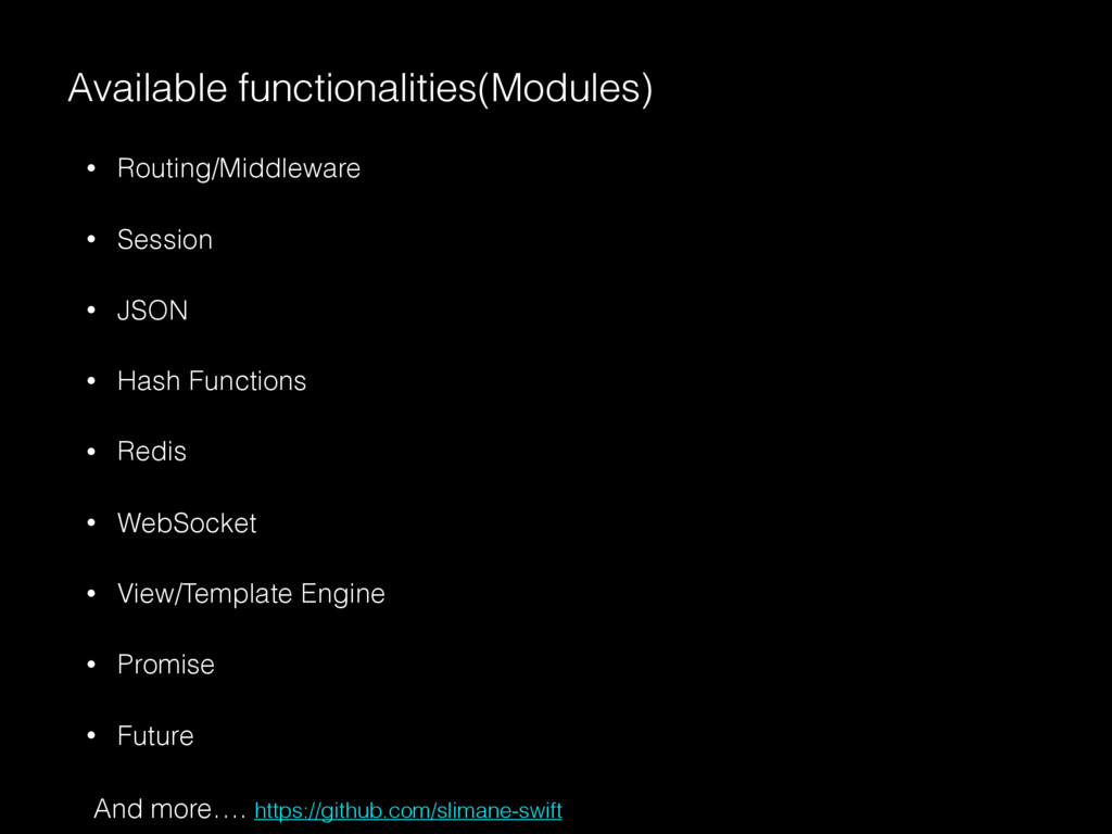 • Routing/Middleware • Session • JSON • Hash Fu...