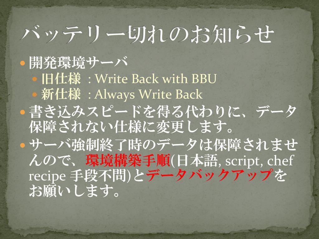 —開発環境サーバ  — 旧仕様 : Write Back w...