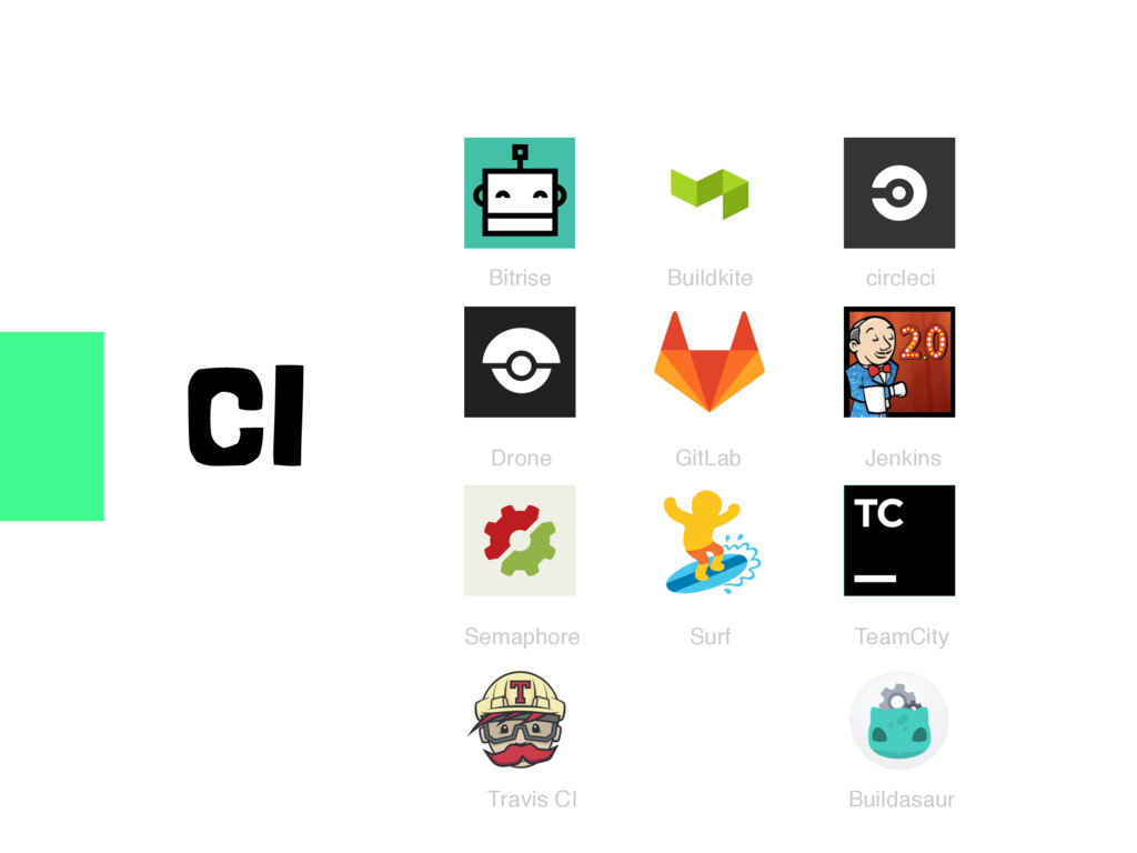 CI Bitrise Buildkite circleci Jenkins GitLab Dr...