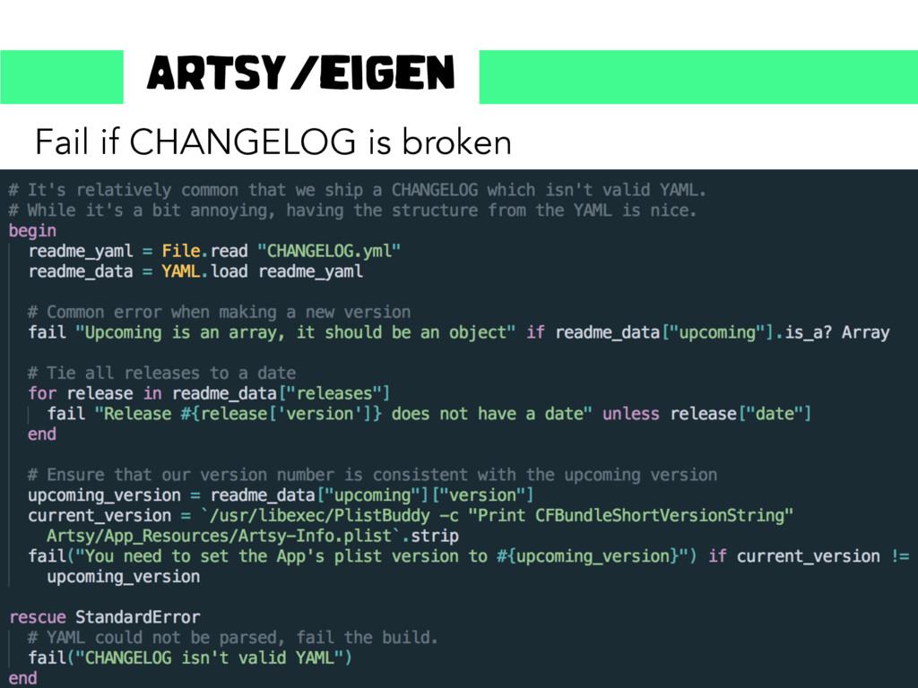 Fail if CHANGELOG is broken Artsy/eigen