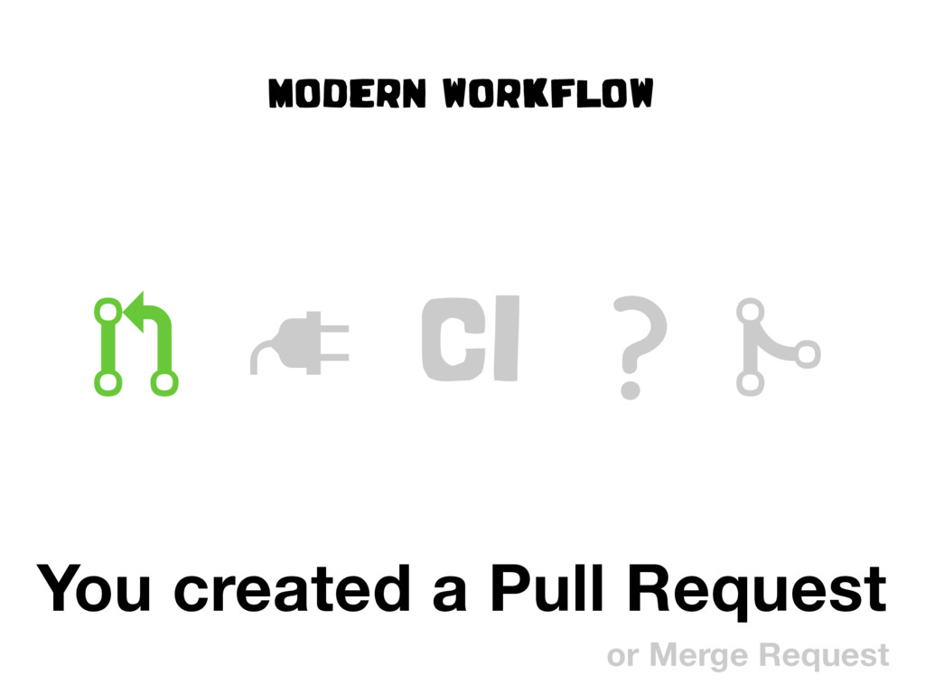 """MODERN WORKFLOW ! """" CI # You created a Pull Req..."""