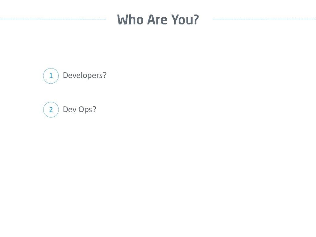 Developers? 1 Dev Ops? 2