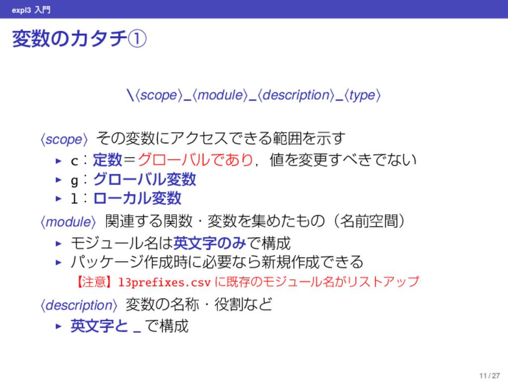 expl3 ೖ มͷΧλνᶃ \⟨scope⟩_⟨module⟩_⟨description...
