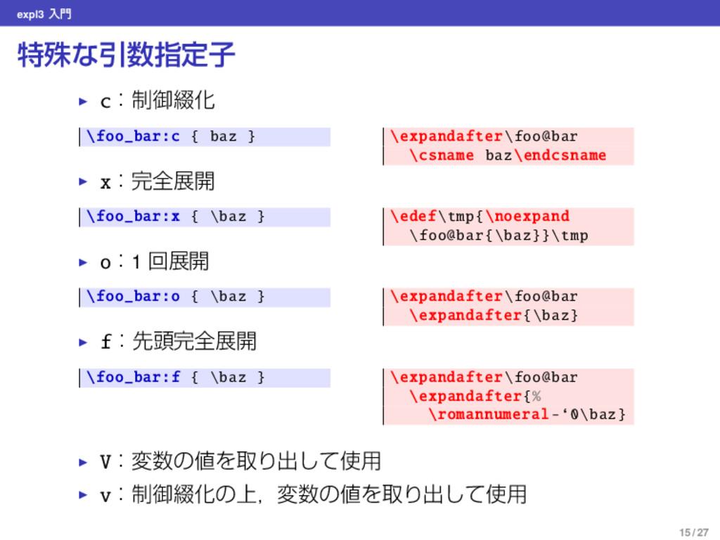 expl3 ೖ ಛघͳҾࢦఆࢠ ▶ cɿ੍ޚ௲Խ \foo_bar:c { baz } \...