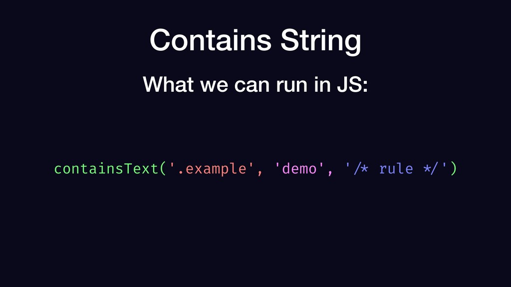 Contains String containsText('.example', 'demo'...