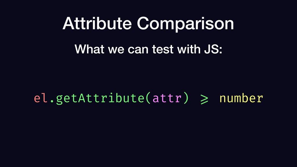 Attribute Comparison el.getAttribute(attr) >= n...