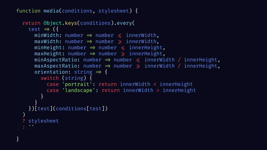 function media(conditions, stylesheet) { return...