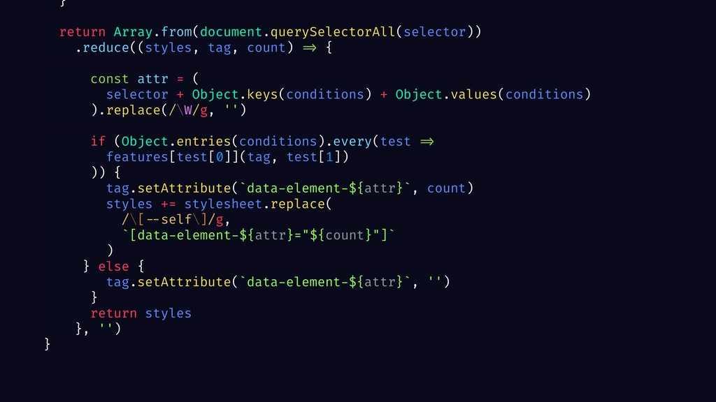 } return Array.from(document.querySelectorAll(s...