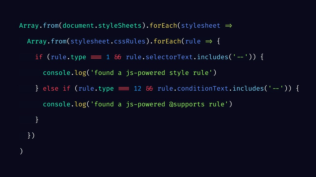 Array.from(document.styleSheets).forEach(styles...