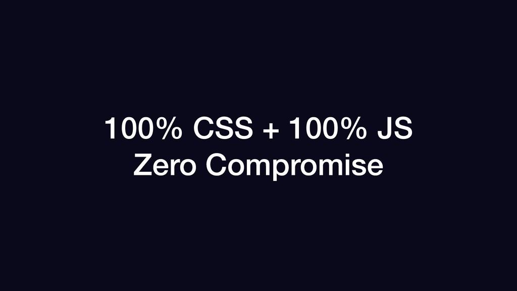 100% CSS + 100% JS Zero Compromise