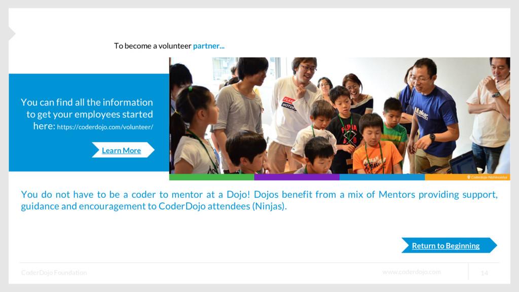 www.coderdojo.com CoderDojo Foundation 14 To be...