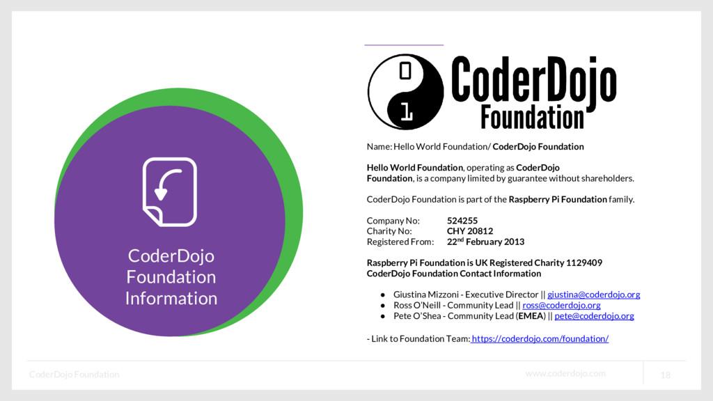www.coderdojo.com CoderDojo Foundation 18 Coder...