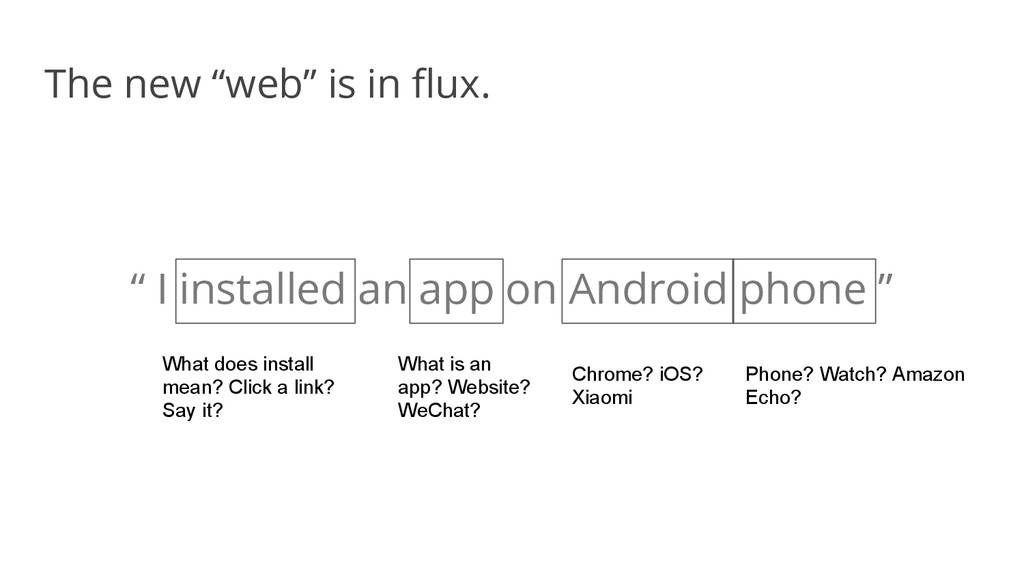 """The new """"web"""" is in flux. """" I installed an app ..."""