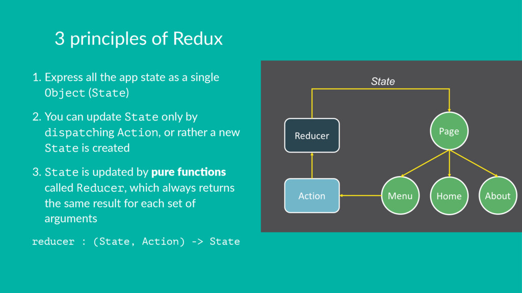 3 principles of Redux 1. Express all the app st...