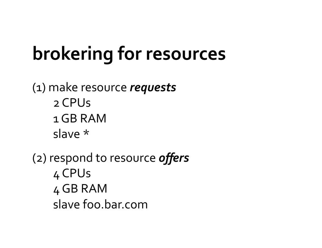 brokering for resources  (1) make...