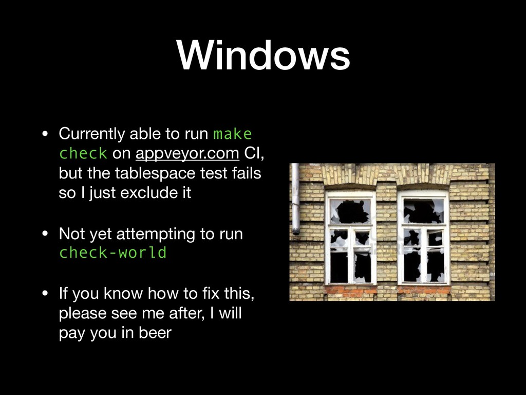 Windows • Currently able to run make check on a...