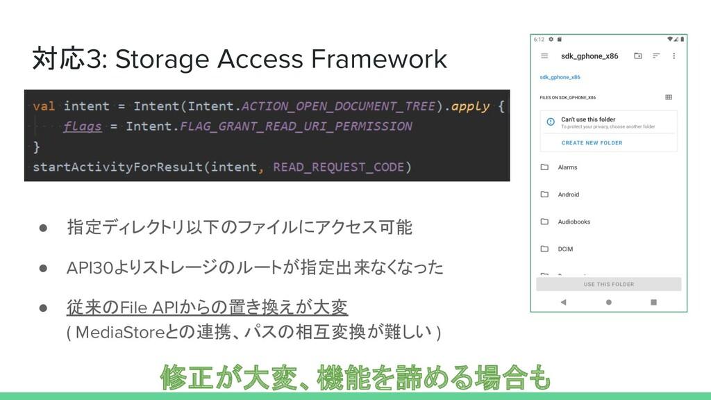 対応3: Storage Access Framework ● 指定ディレクトリ以下のファイル...