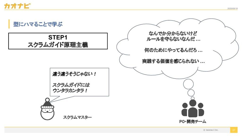 2020/09/19 37 型にハマることで学ぶ STEP1 スクラムガイド原理主義 違う違う...