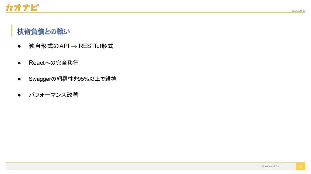 2020/09/19 ● 独自形式のAPI → RESTful形式 ● Reactへの完全移行...