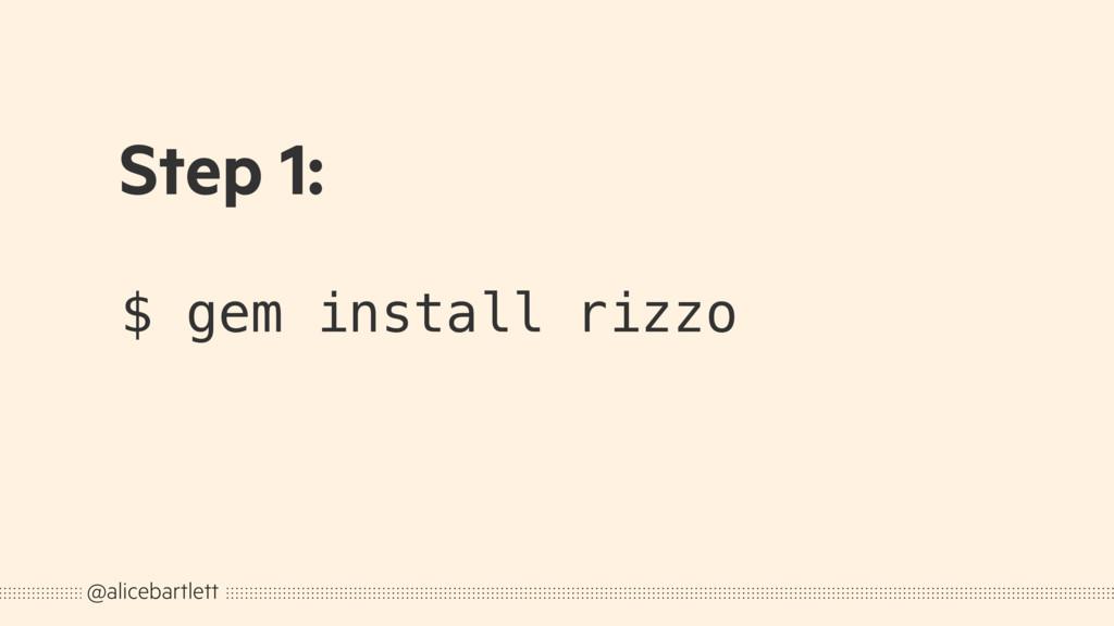 $ gem install rizzo @alicebartlett Step 1: