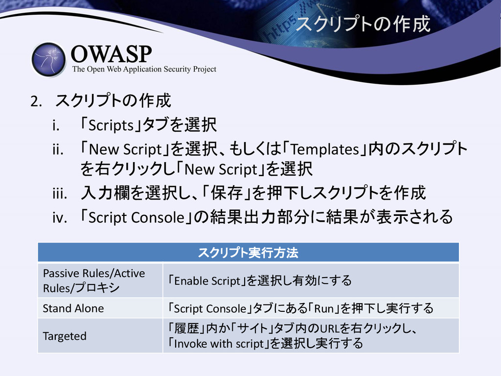 スクリプトの作成 2. スクリプトの作成 i. 「Scripts」タブを選択 ii. 「New...