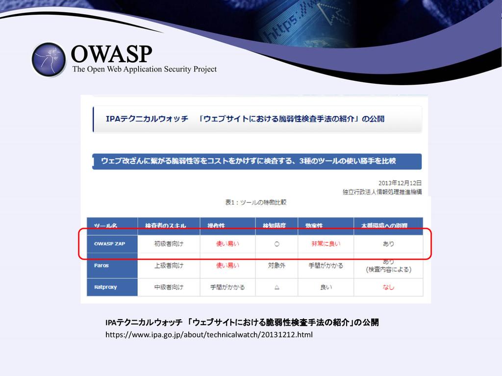 IPAテクニカルウォッチ 「ウェブサイトにおける脆弱性検査手法の紹介」の公開 https://...