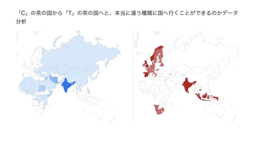 「C」の茶の国から「T」の茶の国へと、本当に違う種類に国へ⾏くことができるのかデータ 分析
