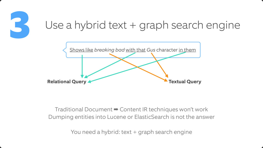 Use a hybrid text + graph search engine 3 Tradi...