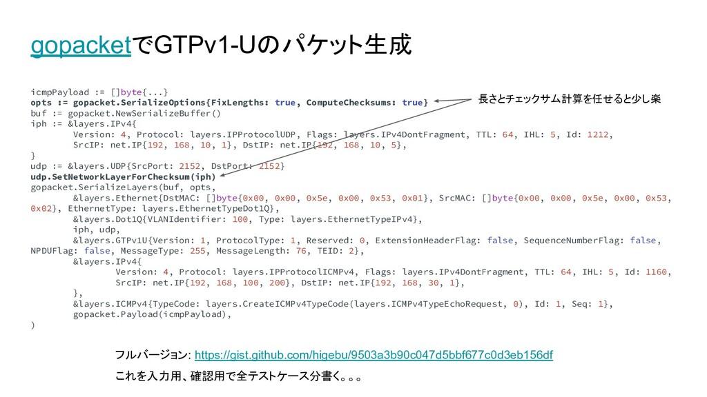 gopacketでGTPv1-Uのパケット生成 icmpPayload := []byte{....