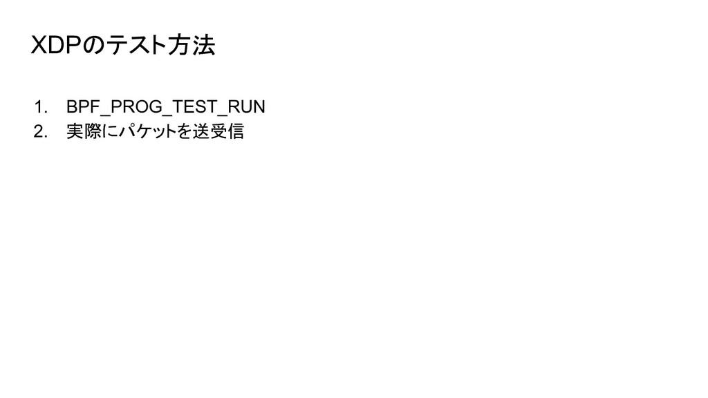 XDPのテスト方法 1. BPF_PROG_TEST_RUN 2. 実際にパケットを送受信