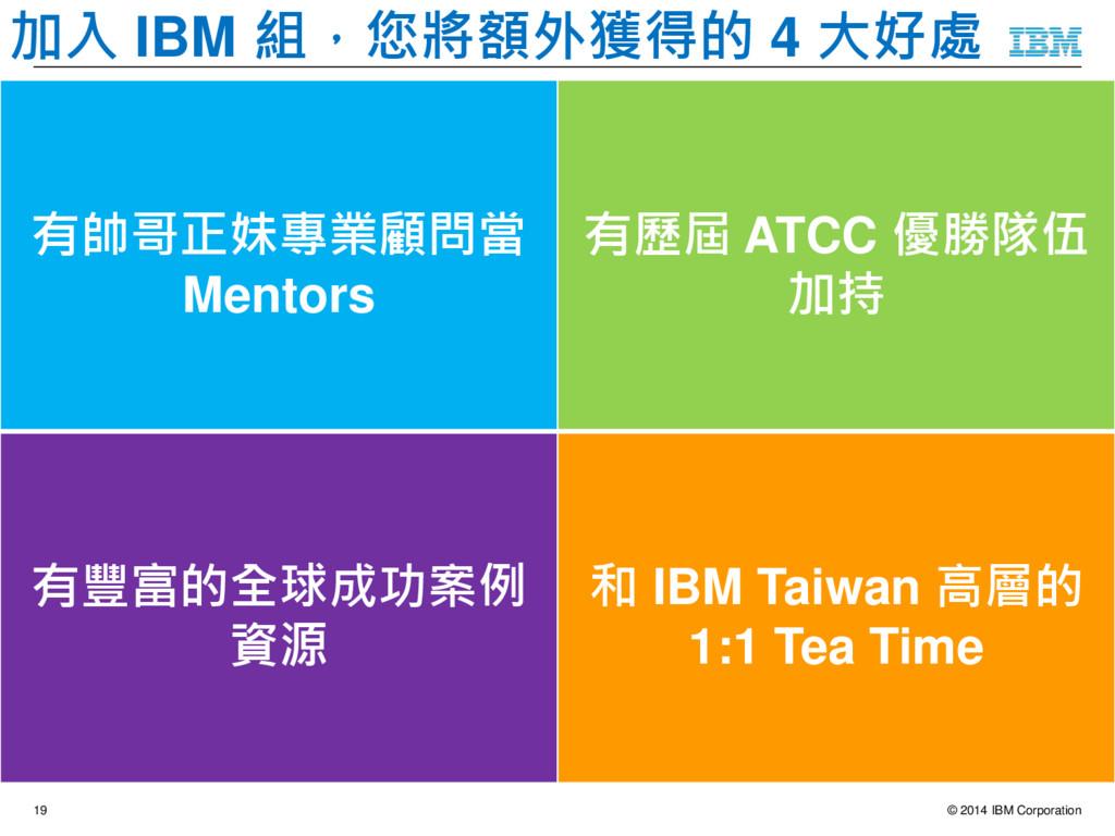 © 2014 IBM Corporation 19 加入 IBM 組,接下來的 4 個月你會…...