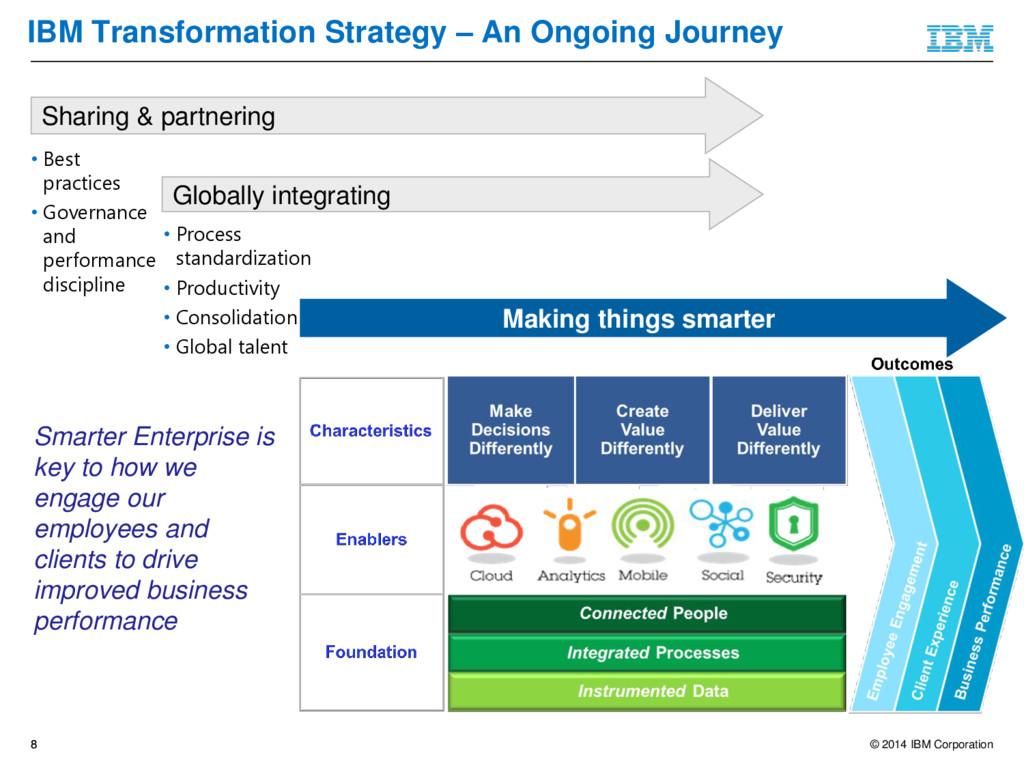 © 2014 IBM Corporation 8 Smarter Enterprise is ...