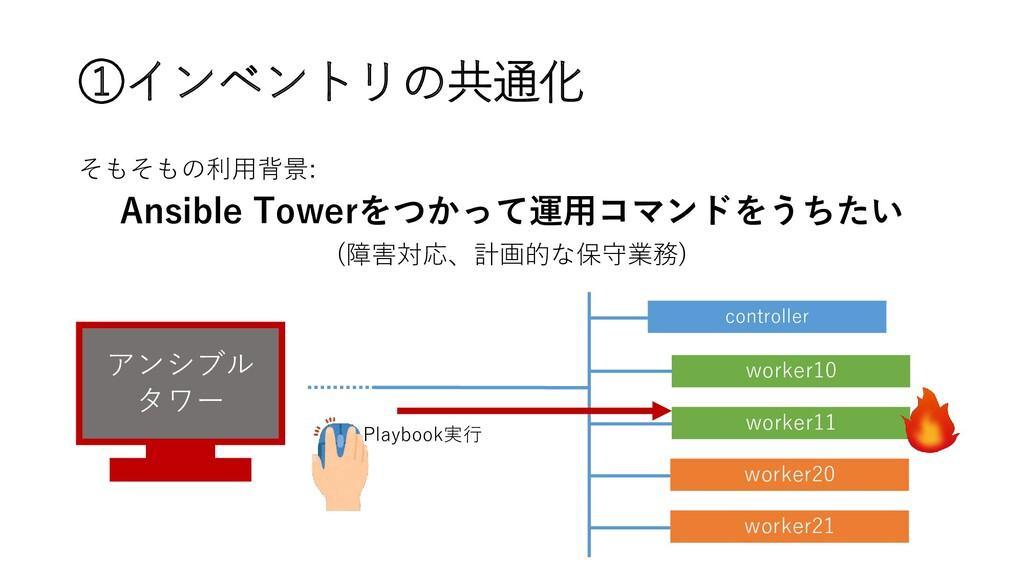 ①インベントリの共通化 そもそもの利用背景: Ansible Towerをつかって運用コマンド...