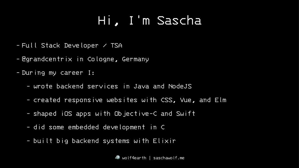 Hi, I'm Sascha - Full Stack Developer / TSA - @...