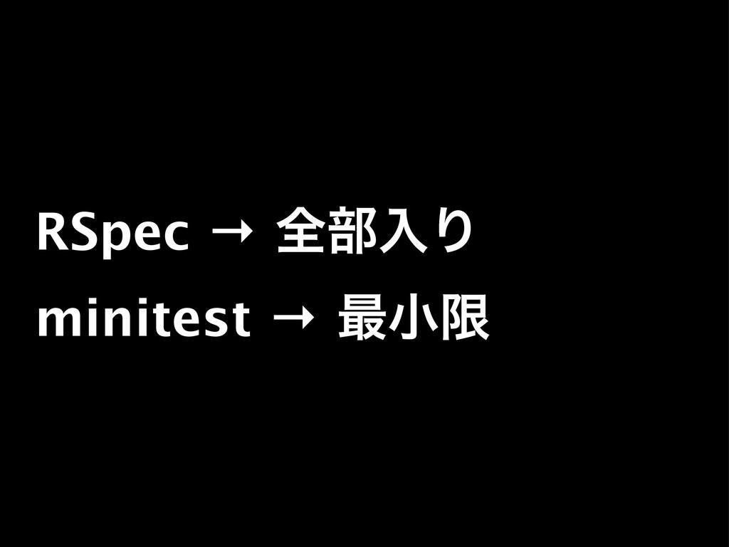 RSpec → શ෦ೖΓ minitest → ࠷খݶ