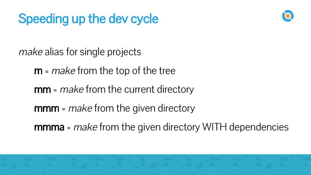 Speeding up the dev cycle make alias for single...