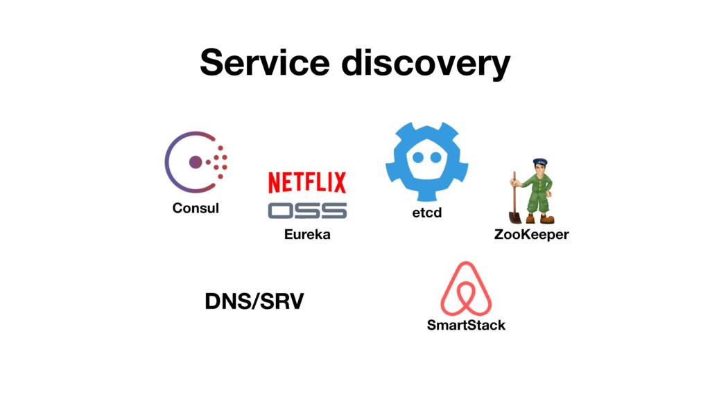 Service discovery DNS/SRV Eureka Consul etcd Zo...