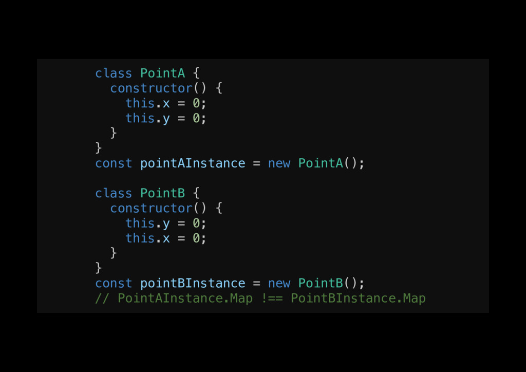 class PointA {! constructor() {! this.x = 0;! t...