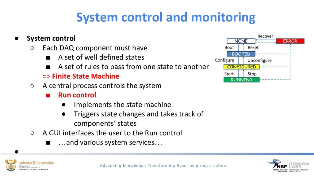 System control and monitoring ● System control ...