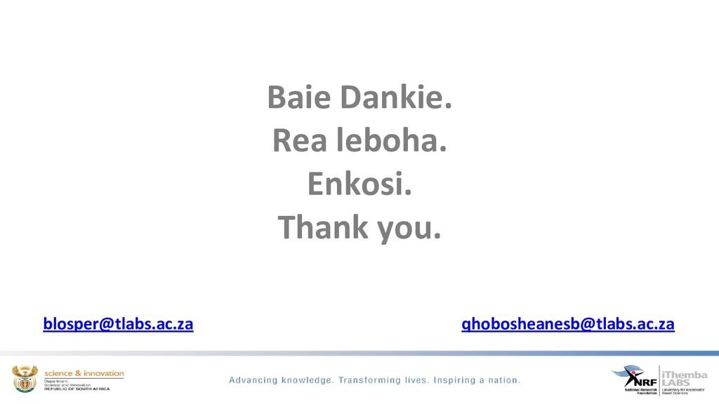 Baie Dankie. Rea leboha. Enkosi. Thank you. blo...