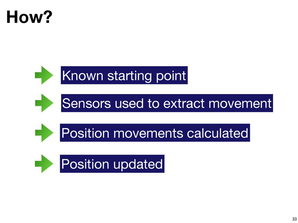 33 How? Sensors used to extract movement Positi...