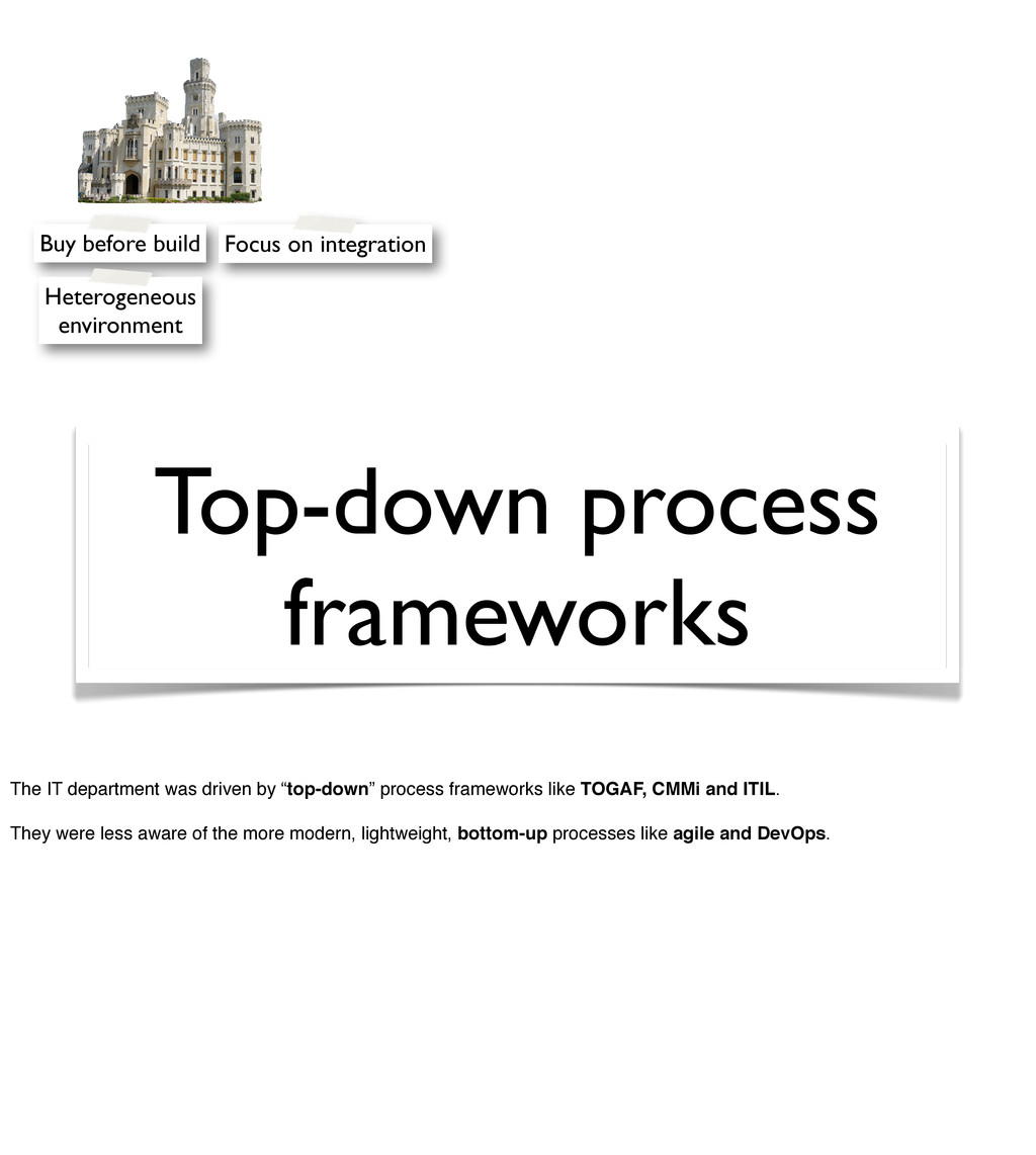 Top-down process frameworks Buy before build He...