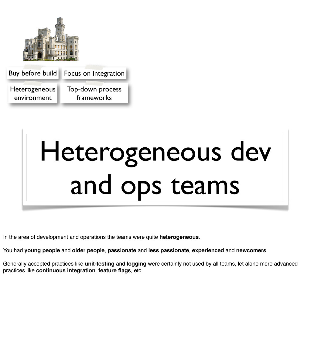Heterogeneous dev and ops teams Buy before buil...