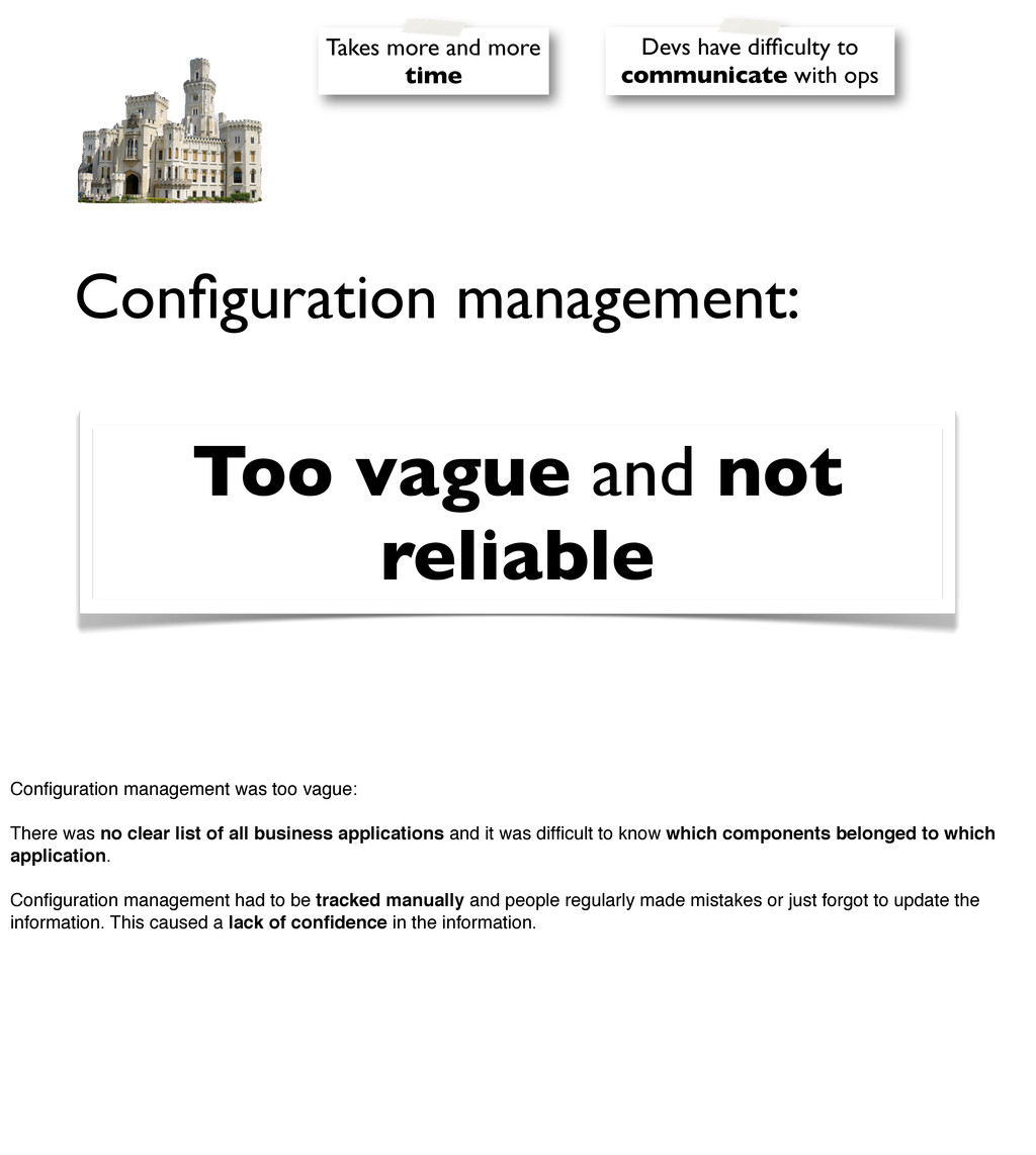 Configuration management: Too vague and not reli...