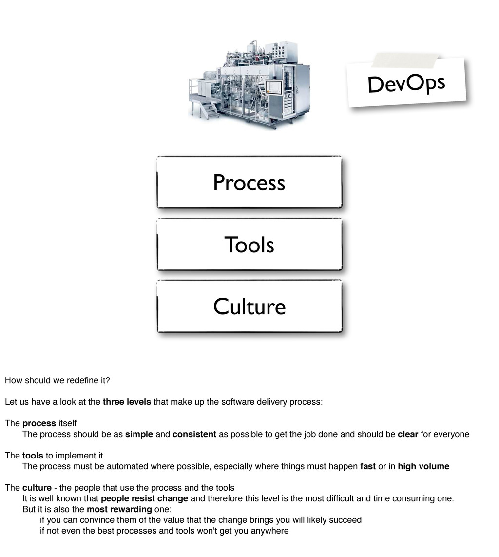 Process Tools Culture DevOps How should we rede...