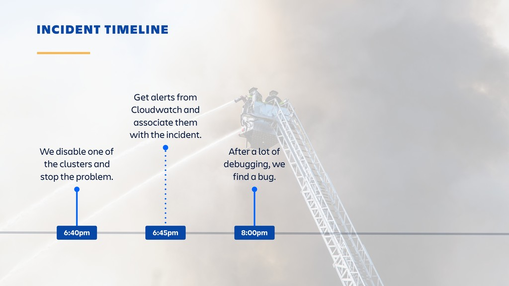 INCIDENT TIMELINE We disable one of the cluster...